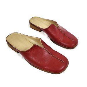 Vintage Shoes - Vintage Italian Leather Slide On Mules Flats Red 8